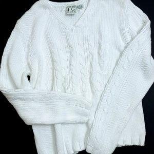 FGGolf white v-neck sweater
